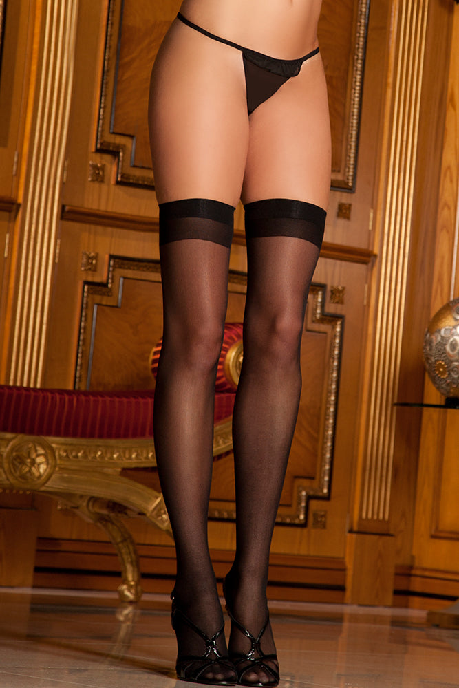 Sheer Black Thigh Highs