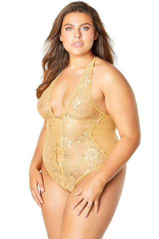lace, floral lace, scalloped trim, sheer, mesh, rhinestone, jewelry, halter, crotchless, teddy, lingerie, sexy lingerie, gold, plus, curvy, queen