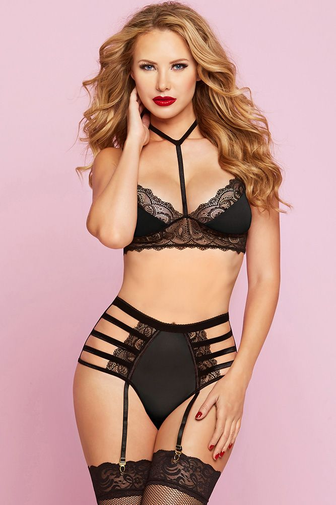 Black Diamond Bralette & High Waist Panty