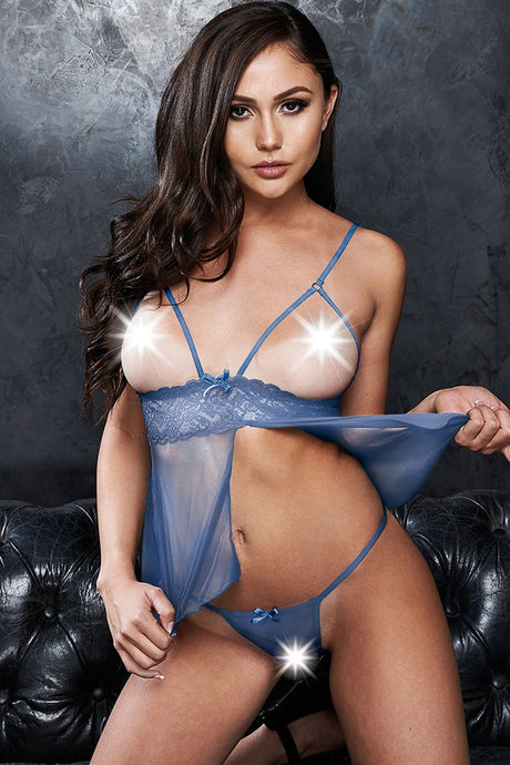 Close Call Blue Babydoll & G-String