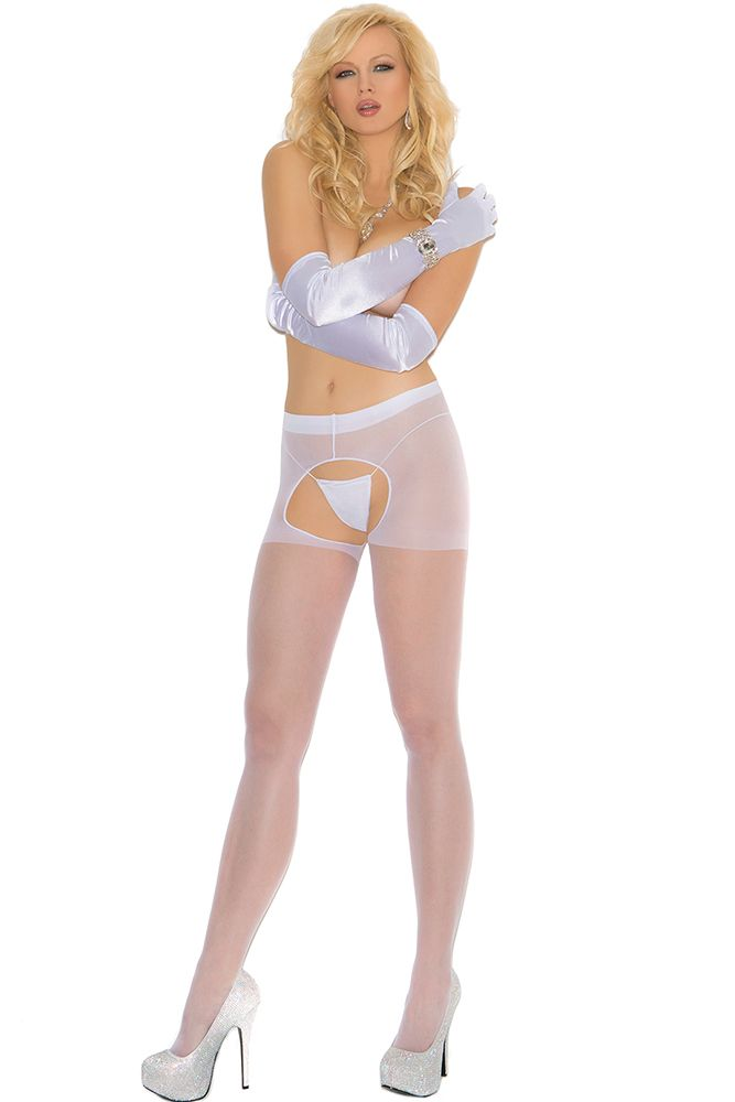 Sheer White Crotchless Pantyhose