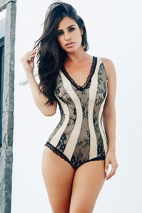 Two Tone Nude Romper with Black Lace Trim
