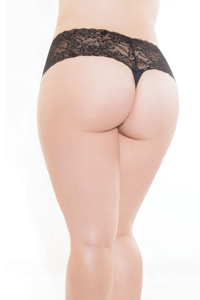 Black Lace & Microfiber High Waist Thong