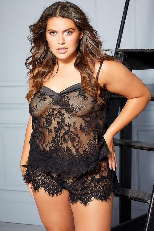 Cami Side Up Black Lace PJ Set