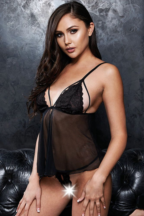 Beyond the Stars Black Mesh Babydoll