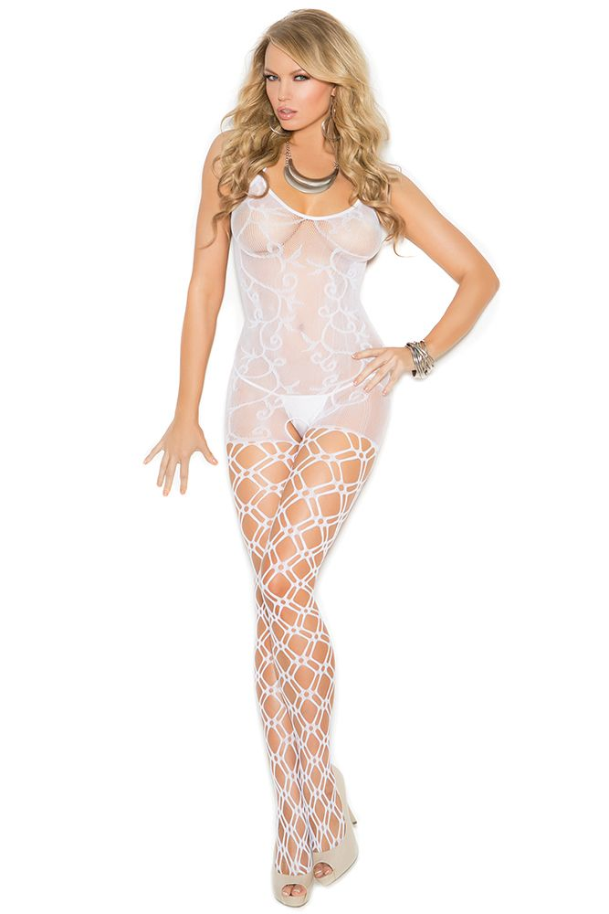 Crocheted White Knit Bodystocking