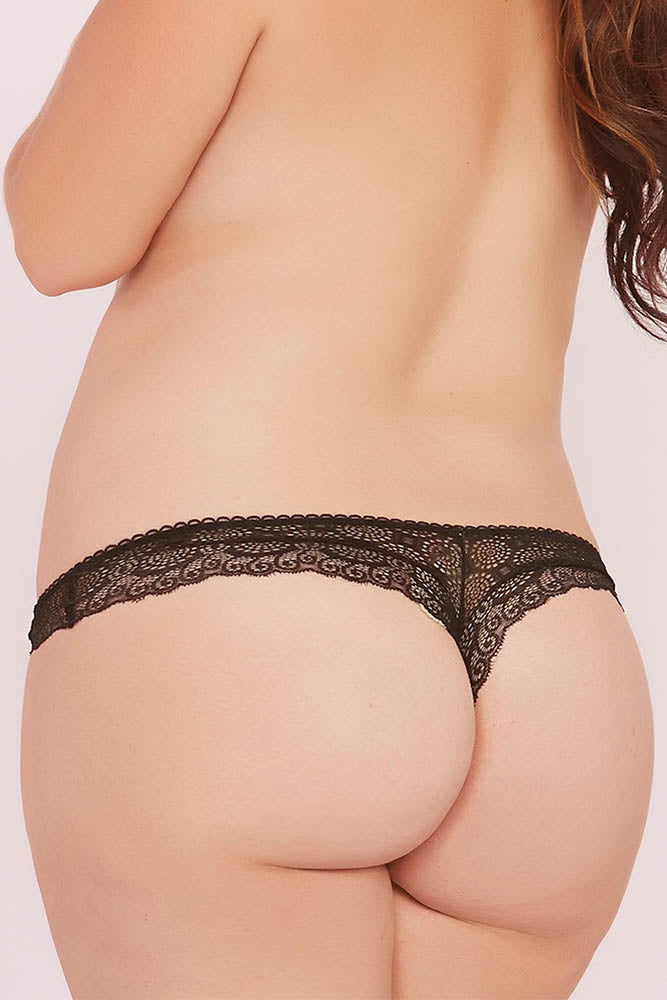 Classic Black Geo Galloon Lace Cutout Panty