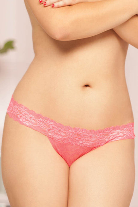 Coral Rose Lace Keyhole Thong
