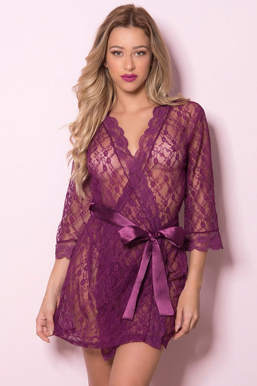 Laurel Mulberry All Over Lace Robe
