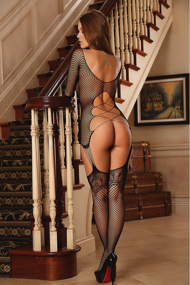Club Seamless Fishnet Gartered Catsuit