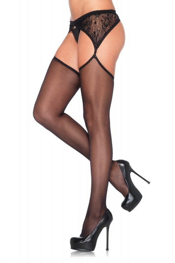 Black Sheer Stocking with Lace Garter