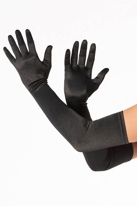 Black Satin Lycra Gloves