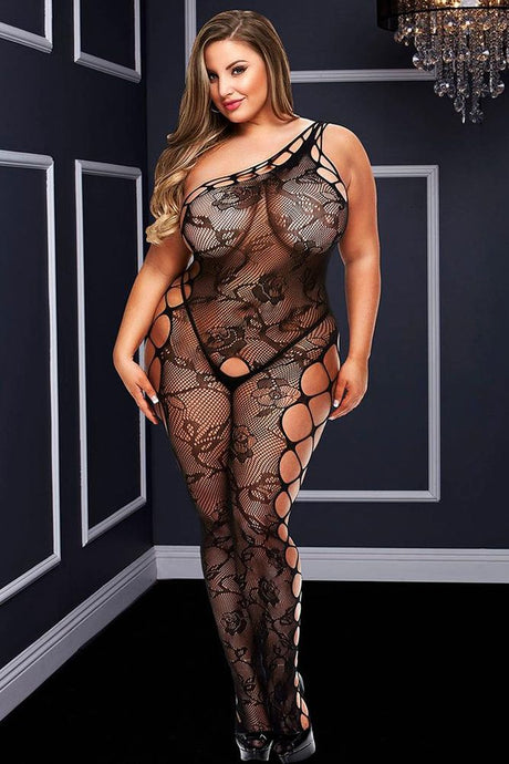 Off Shoulder Cage Net Bodystocking