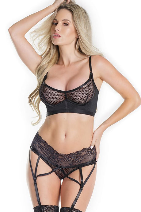 The Prettiest Star Black Bra & Garter Panty