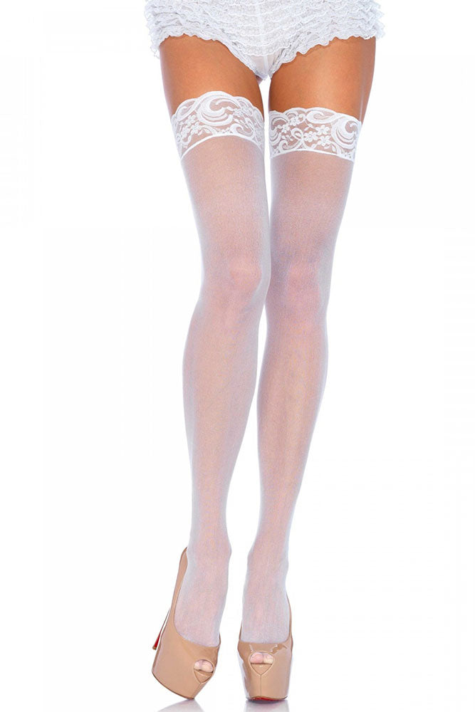 White Nylon Sheer Thigh Highs with Lace Top