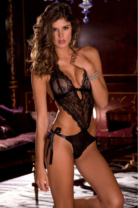 Black Lace Tie Back Teddy
