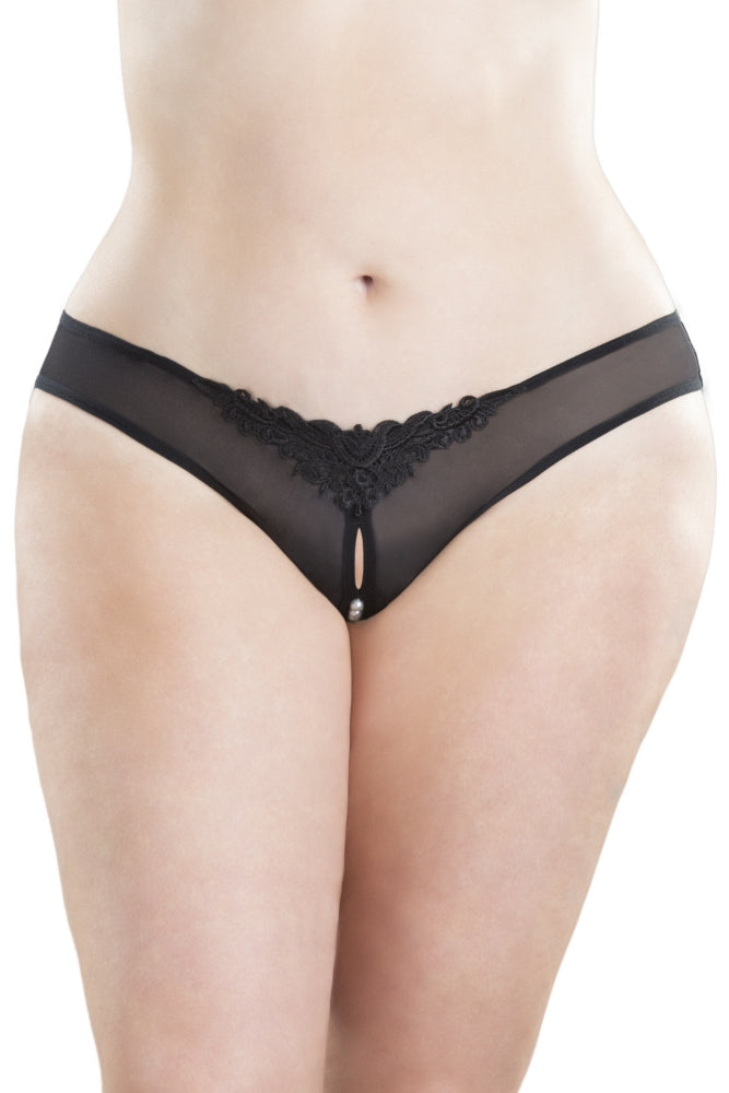 Black Crotchless Pearl Thong