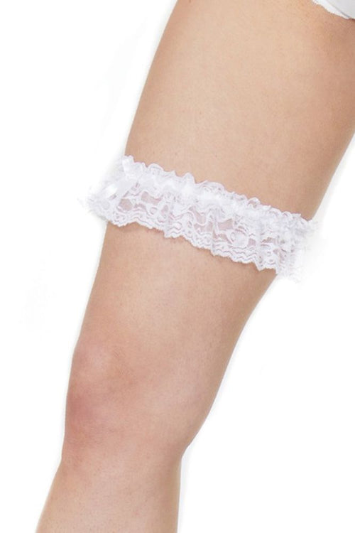 Ruffled White Lace Leg Garter