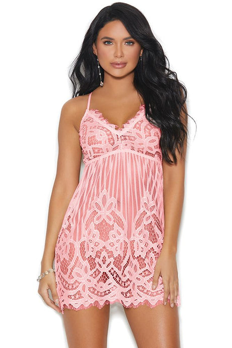 Stripes Over Paris Soft Pink Babydoll