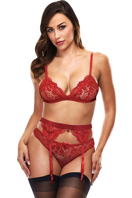 Hot Shot Red Lace Bralette, Garter & Panty