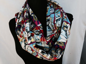 Lightweight Infinity Circle Scarf Made From Wonder Woman Fabric