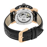Reign Stavros Automatic Skeleton Leather-Band Watch - Rose Gold/Black REIRN3706