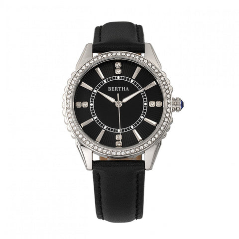 Bertha Clara Leather-Band Watch - Black BTHBR8101