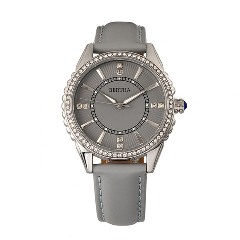 Bertha Clara Leather-Band Watch - Grey BTHBR8102