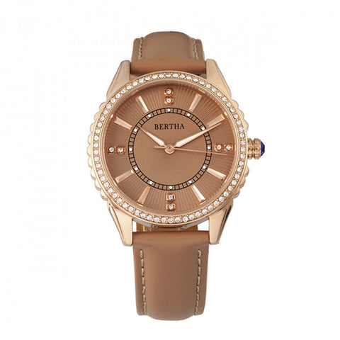Bertha Clara Leather-Band Watch - Khaki BTHBR8105