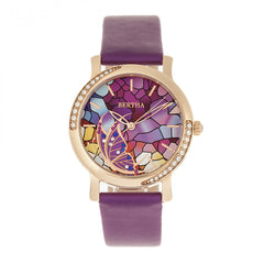 Bertha Vanessa Leather Band Watch - Purple