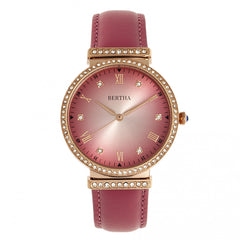 Bertha Allison Leather-Band Watch - Pink BTHBR9306