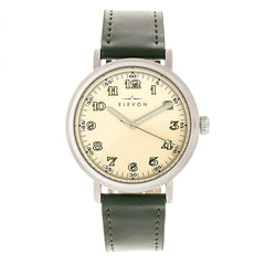 Elevon Felix Leather-Band Watch - Silver/Green
