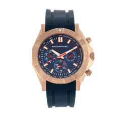 Morphic M75 Series Tachymeter Strap Watch w/Day/Date - Rose Gold/Blue