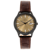 Elevon Concorde Leather-Band Watch w/Date - Black/Gold ELE115-6