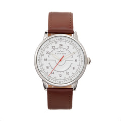 Elevon Gauge Leather-Band Watch - Silver/Dark Brown