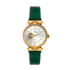 Empress Alouette Automatic Semi-Skeleton Leather-Band Watch - Green EMPEM3403