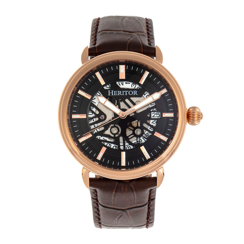 Heritor Automatic Mattias Leather-Band Watch w/Date - Rose Gold/Black HERHR8406