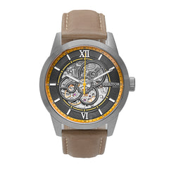 Heritor Automatic Jonas Leather-Band Skeleton Watch - Silver/Bronze - HERHR9505 HERHR9505