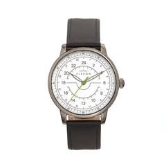 Elevon Gauge Leather-Band Watch - Gunmetal/Black