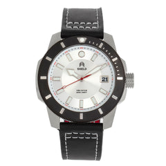 Shield Shaw Leather-Band Men's Diver Watch w/Date - Silver