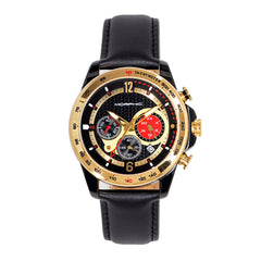 Morphic M88 Series Chronograph Leather-Band Watch w/Date - Black/Gold
