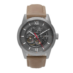 Heritor Automatic Jonas Leather-Band Skeleton Watch - Silver/Grey - HERHR9504 HERHR9504