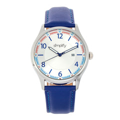 Simplify The 6900 Leather-Band Watch w/ Date - Blue