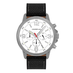 Morphic M86 Series Chronograph Leather-Band Watch - Silver/White