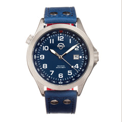 Shield Palau Leather-Band Men's Diver Watch w/Date - Silver/Blue SLDSH104-3