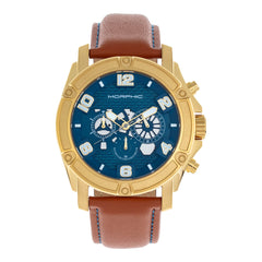 Morphic M73 Series Chronograph Leather-Band Watch - Gold/Blue