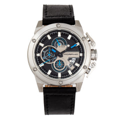 Morphic M81 Series Chronograph Leather-Band Watch w/Date - Black/Silver - MPH8101 MPH8101