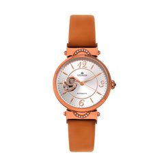 Empress Alouette Automatic Semi-Skeleton Leather-Band Watch - Light Brown EMPEM3405