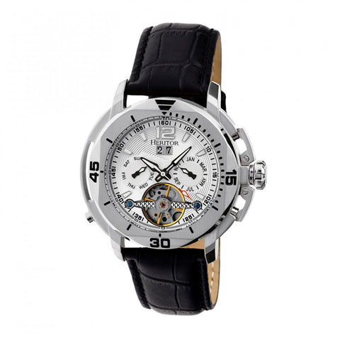 Heritor Automatic Lennon Semi-Skeleton Leather-Band Watch - Silver HERHR2801