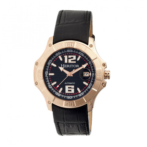 Heritor Automatic Norton Leather-Band Watch w/Date - Black/Rose Gold HERHR3006
